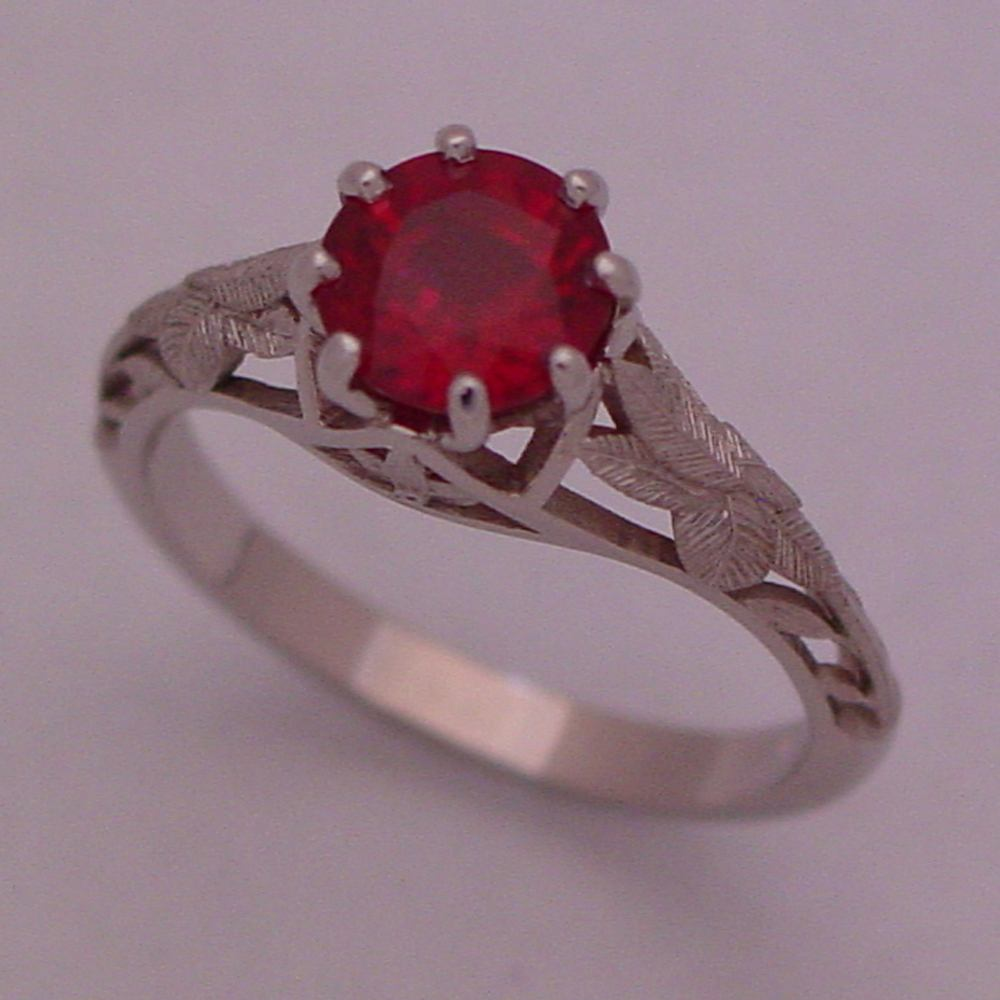 14k White Gold 1_5ct Natural Ruby Flower Filiagree Ring