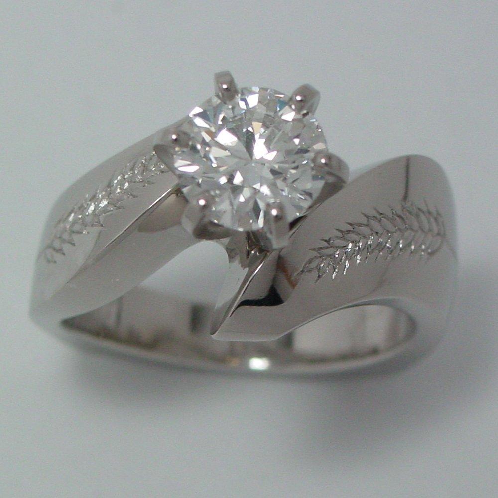 14k White Gold 1ct Diamond Wheat Ring