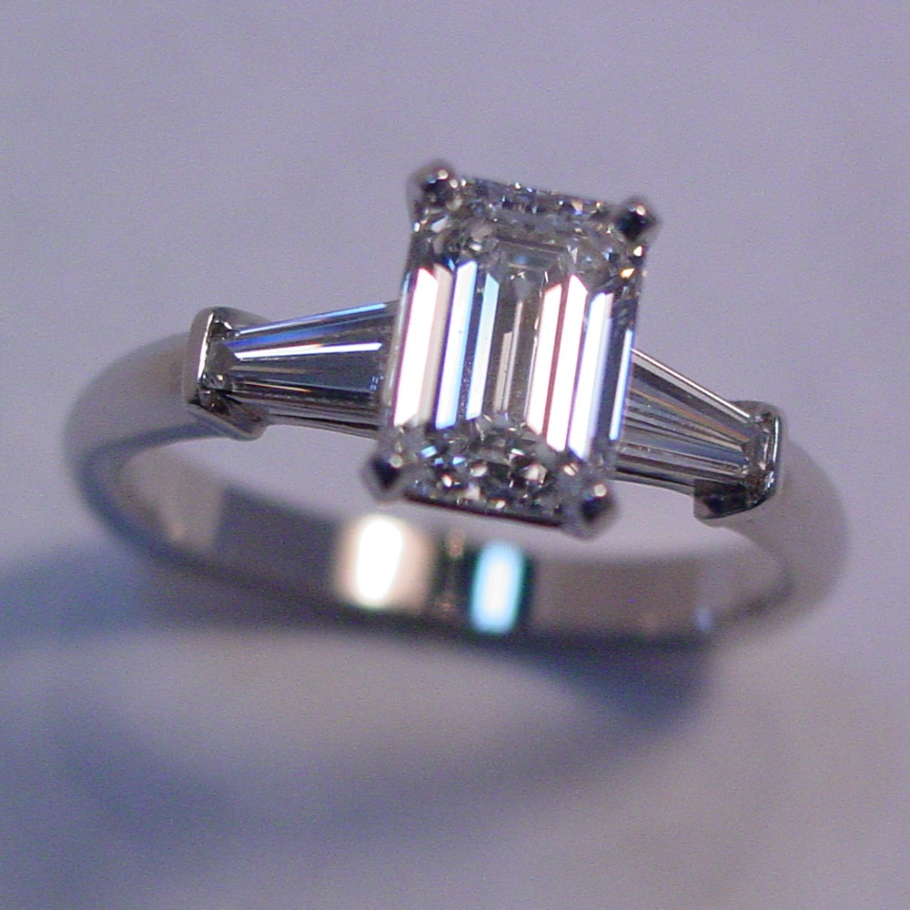 14k White Gold 1ct Emerald Cut Diamond and Baguette Diamond