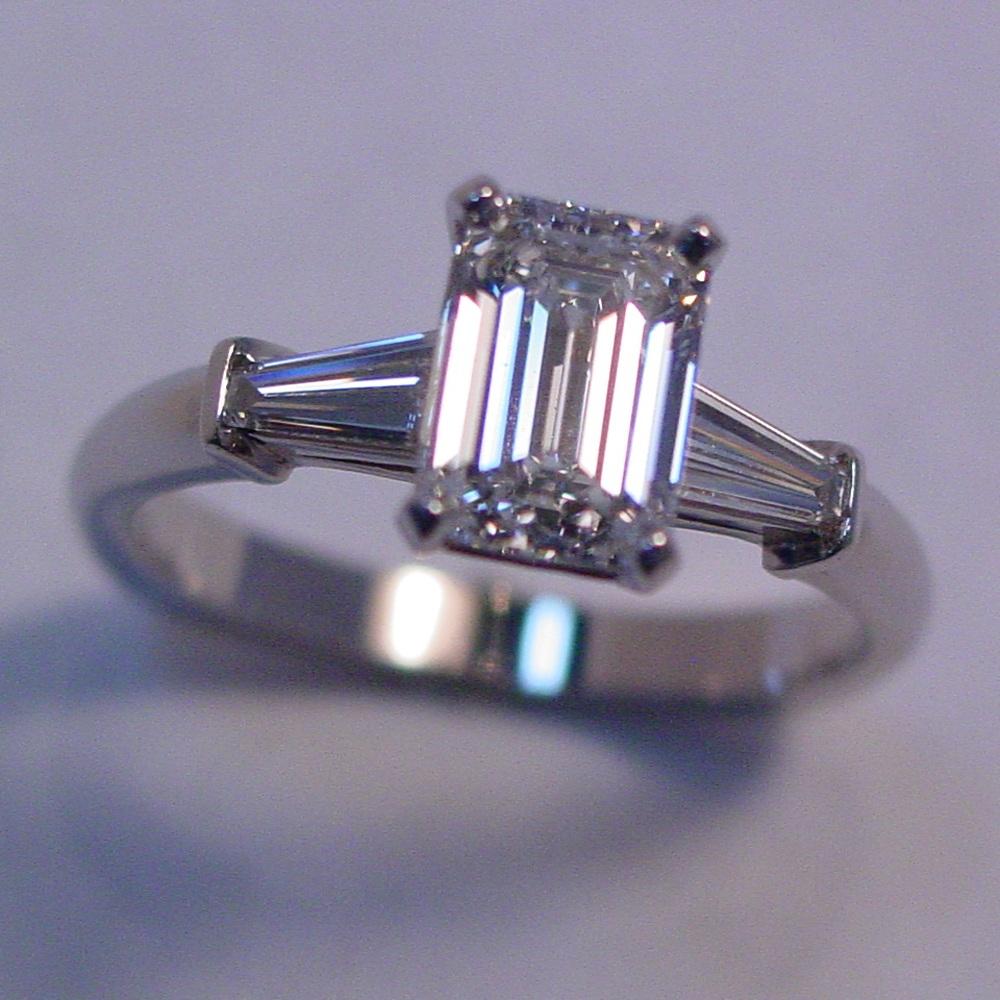 14k White Gold 1ct Emerald Cut Diamond and Baguette Diamond