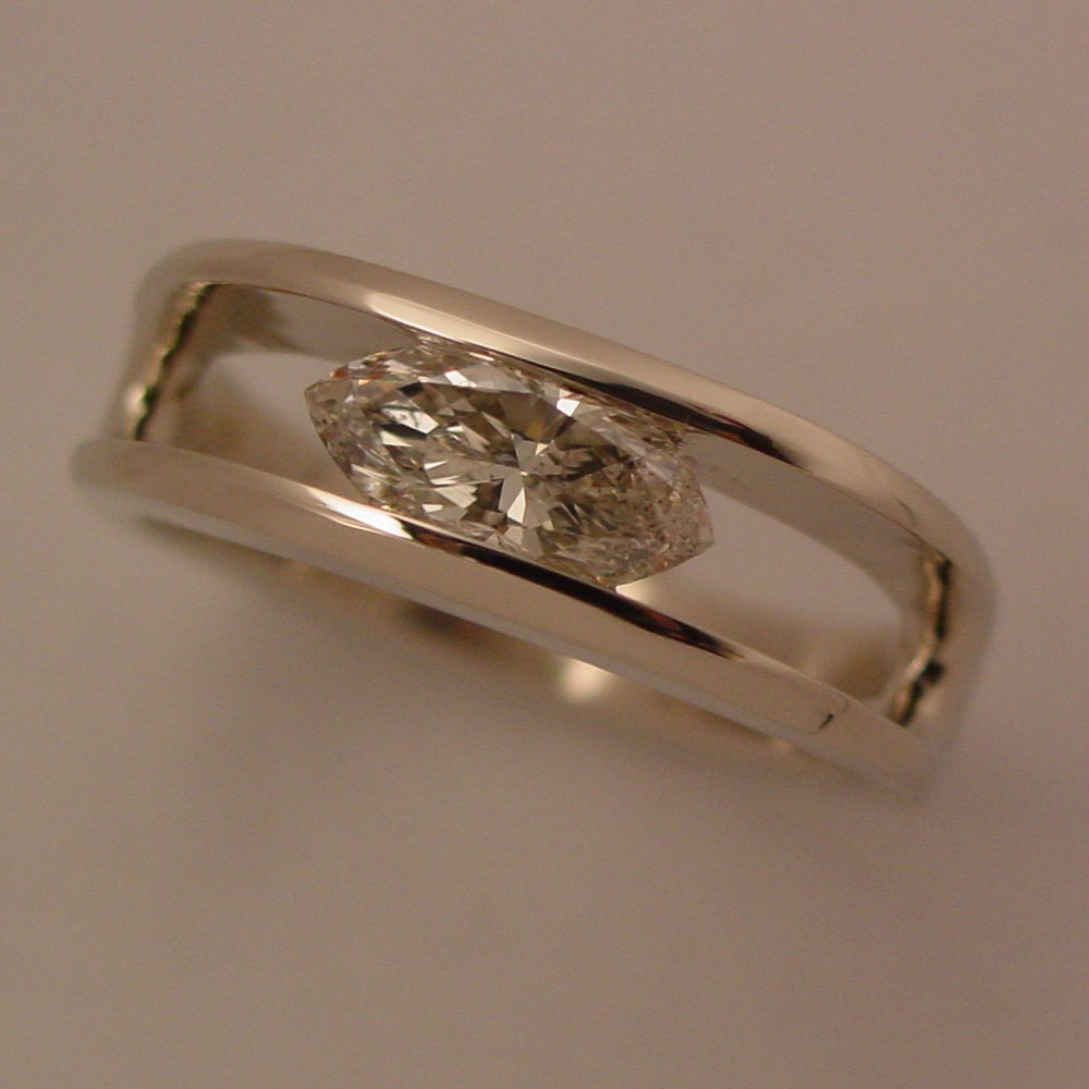 14k White Gold 1ct Marquise Cut Diamond Channel Set Ring