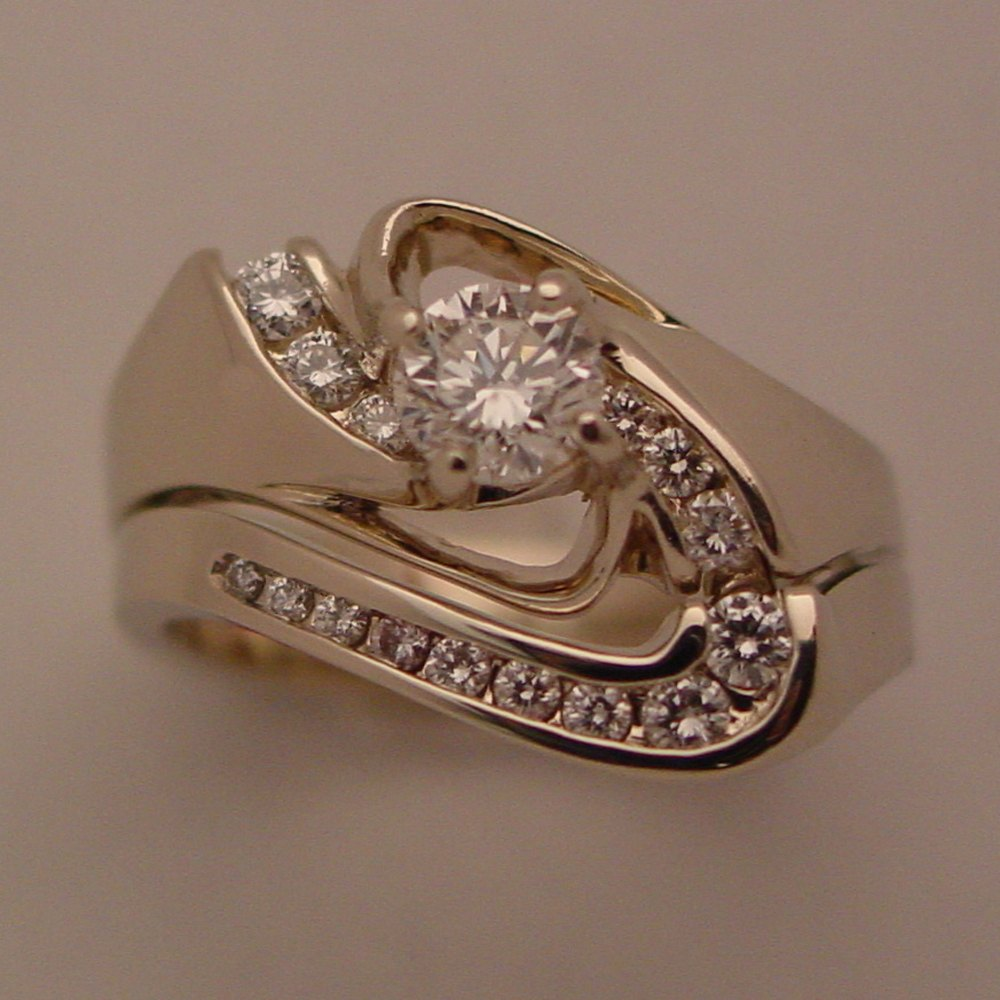 14k White Gold 2 Ring Prong and Channel Set Diamond Kona Wedding Set