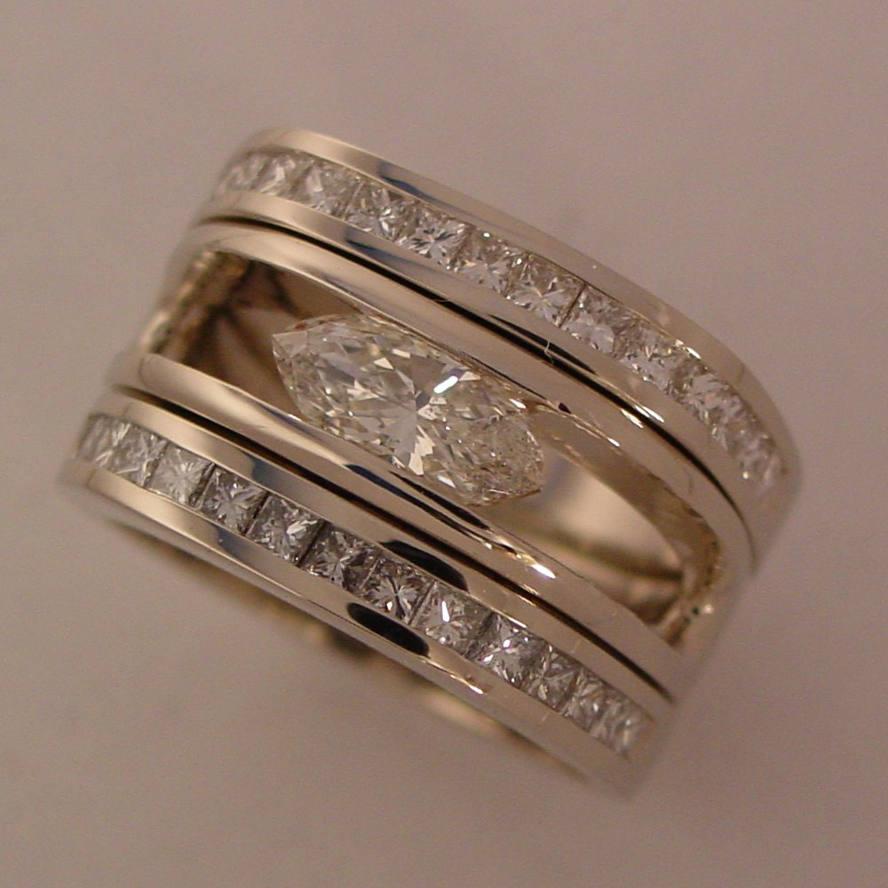14k White Gold 3 Ring Set with 1ct Marquise and Princess Cut Diamonds in a Channel Setting