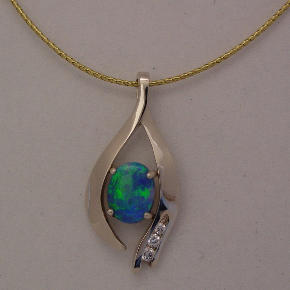 14k White Gold Black Opal and Diamond Pendant