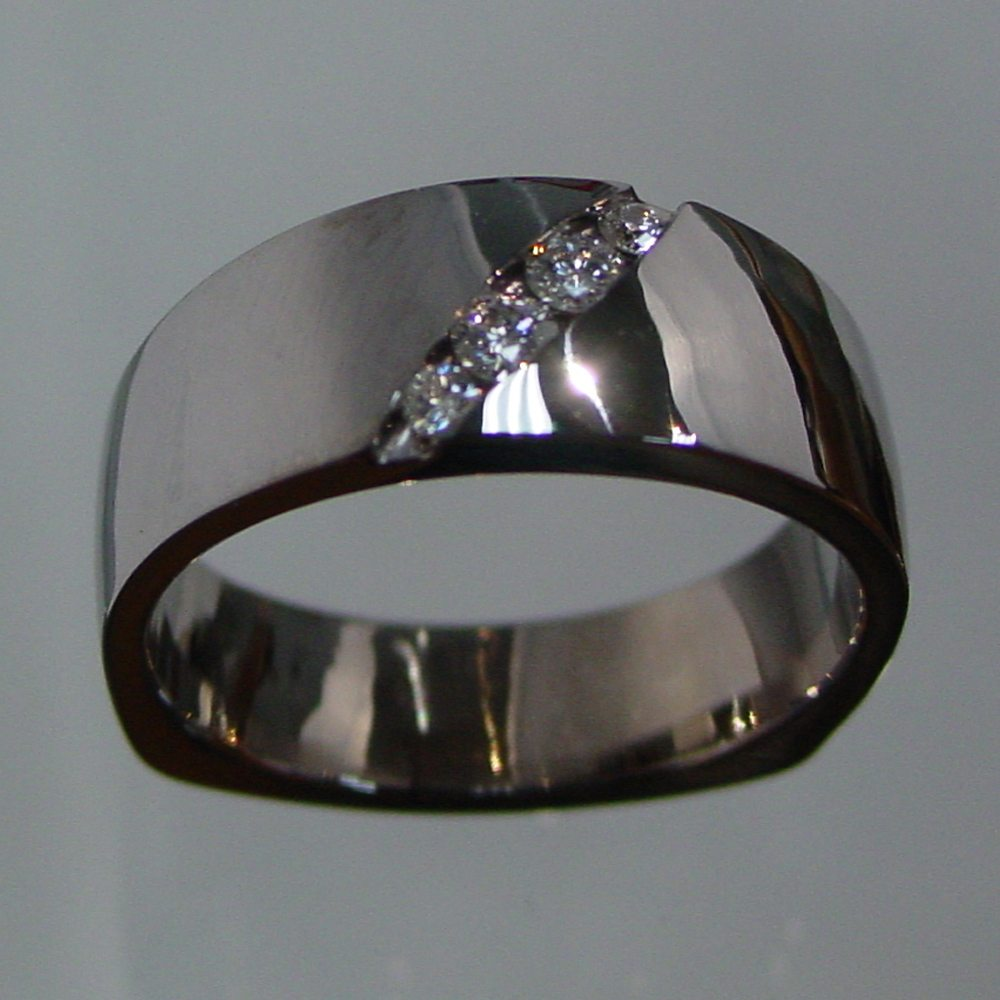 14k White Gold Channel Set Diamond Ring