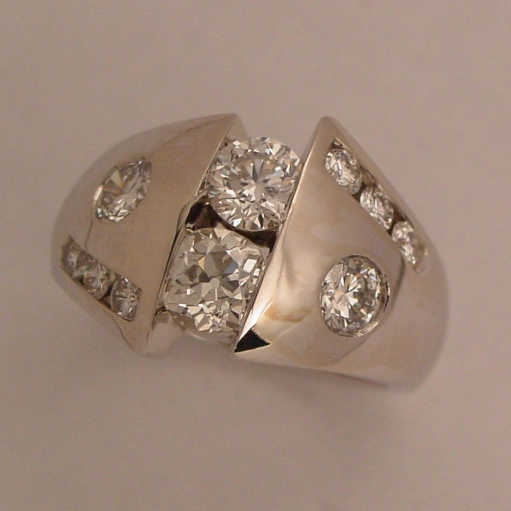 14k White Gold Custom Diamond Ring