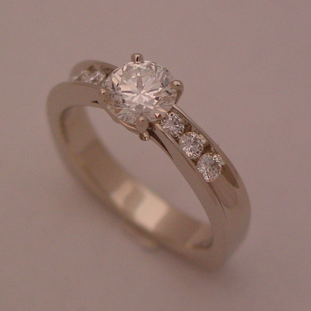 14k White Gold Diamond Channel Aspen Ring