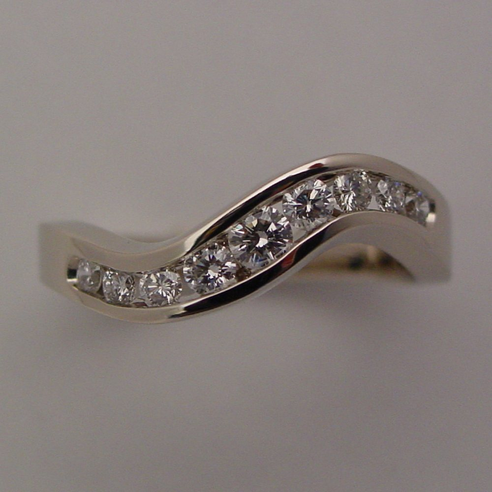 14k White Gold Diamond Channel Wedding Ring