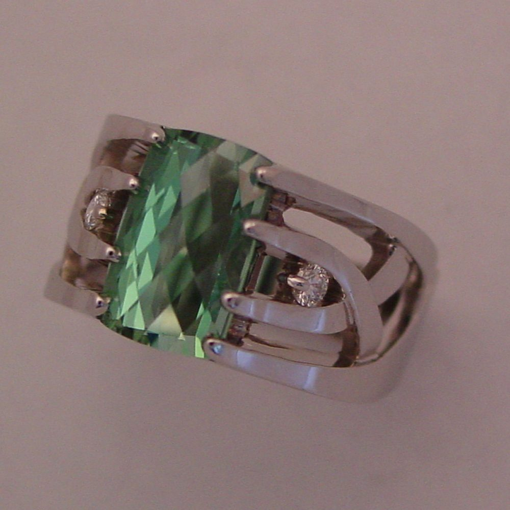 14k White Gold Mint Green Tourmaline Ring
