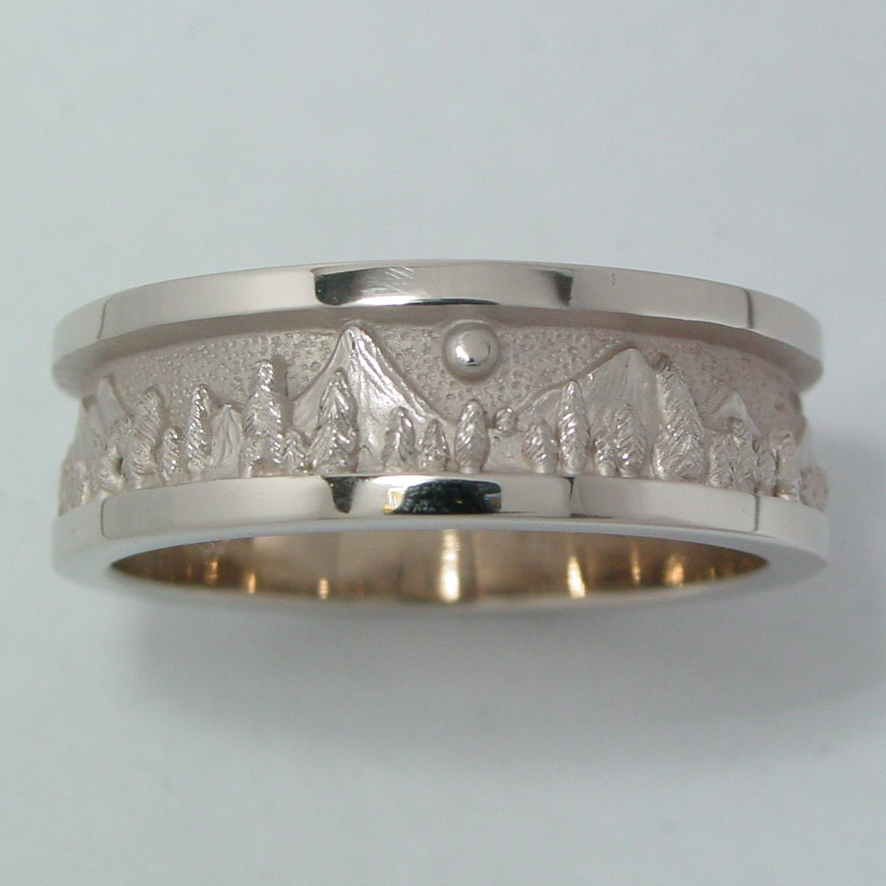 14k White Gold Moon over Mountains Band