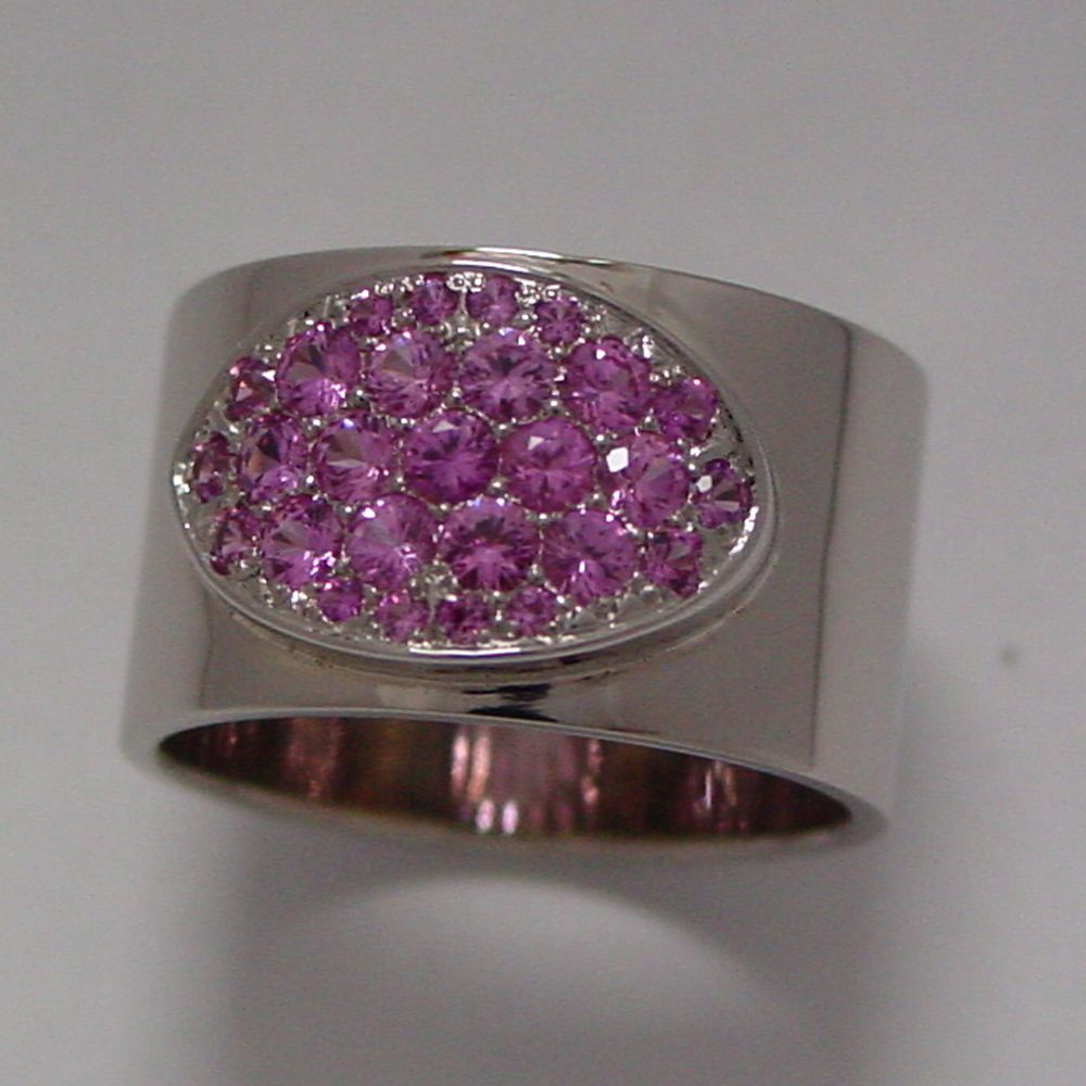 14k White Gold Pink Sapphire Pave Band