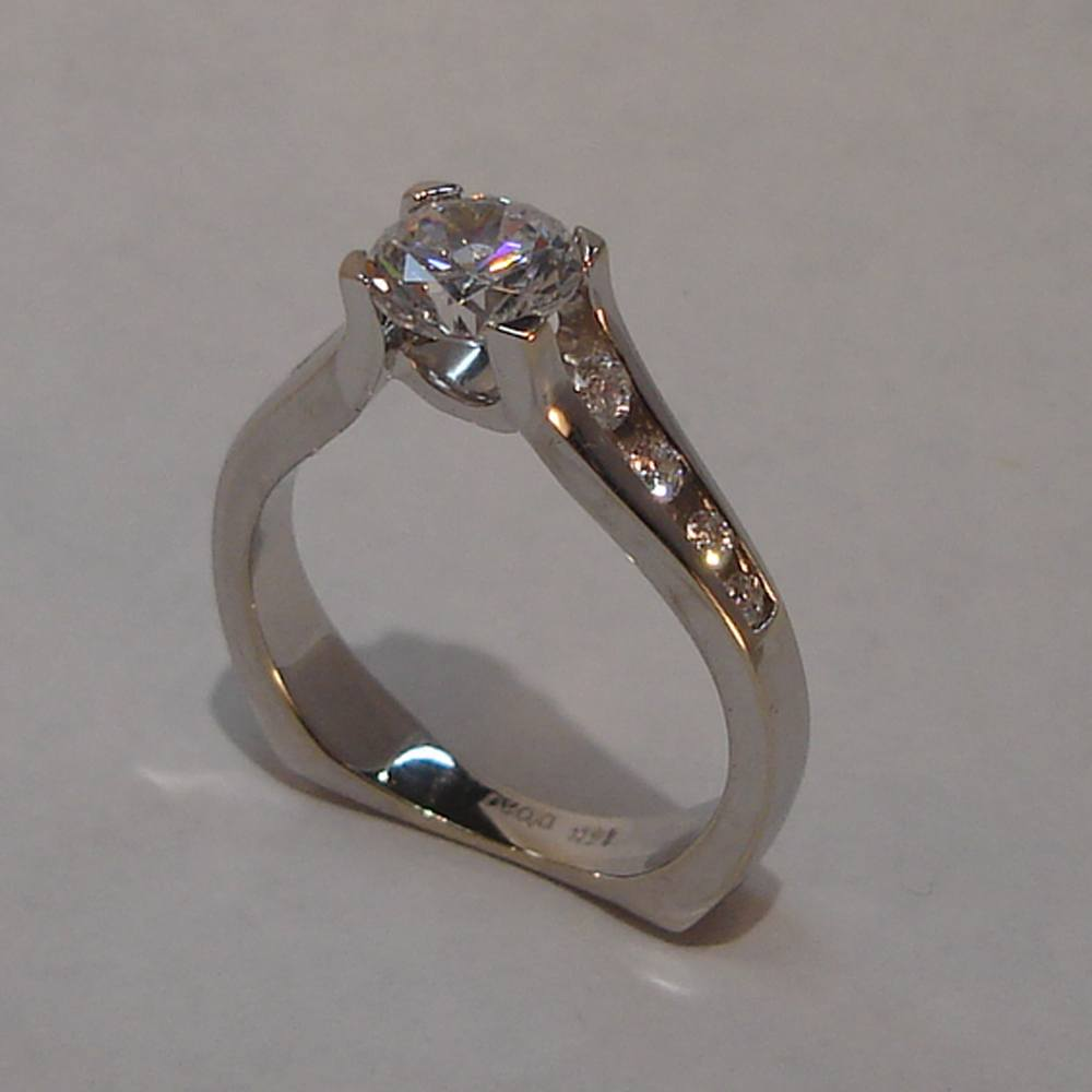 14k White Gold Prong and Channel Set Diamond Aspen Ring