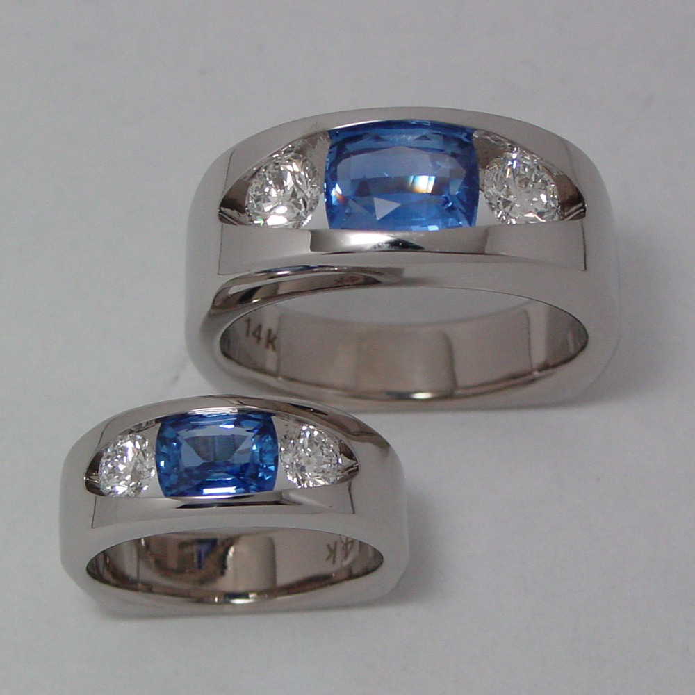 14k White Gold Sapphire and Diamond Man's and Women's Wedding Set