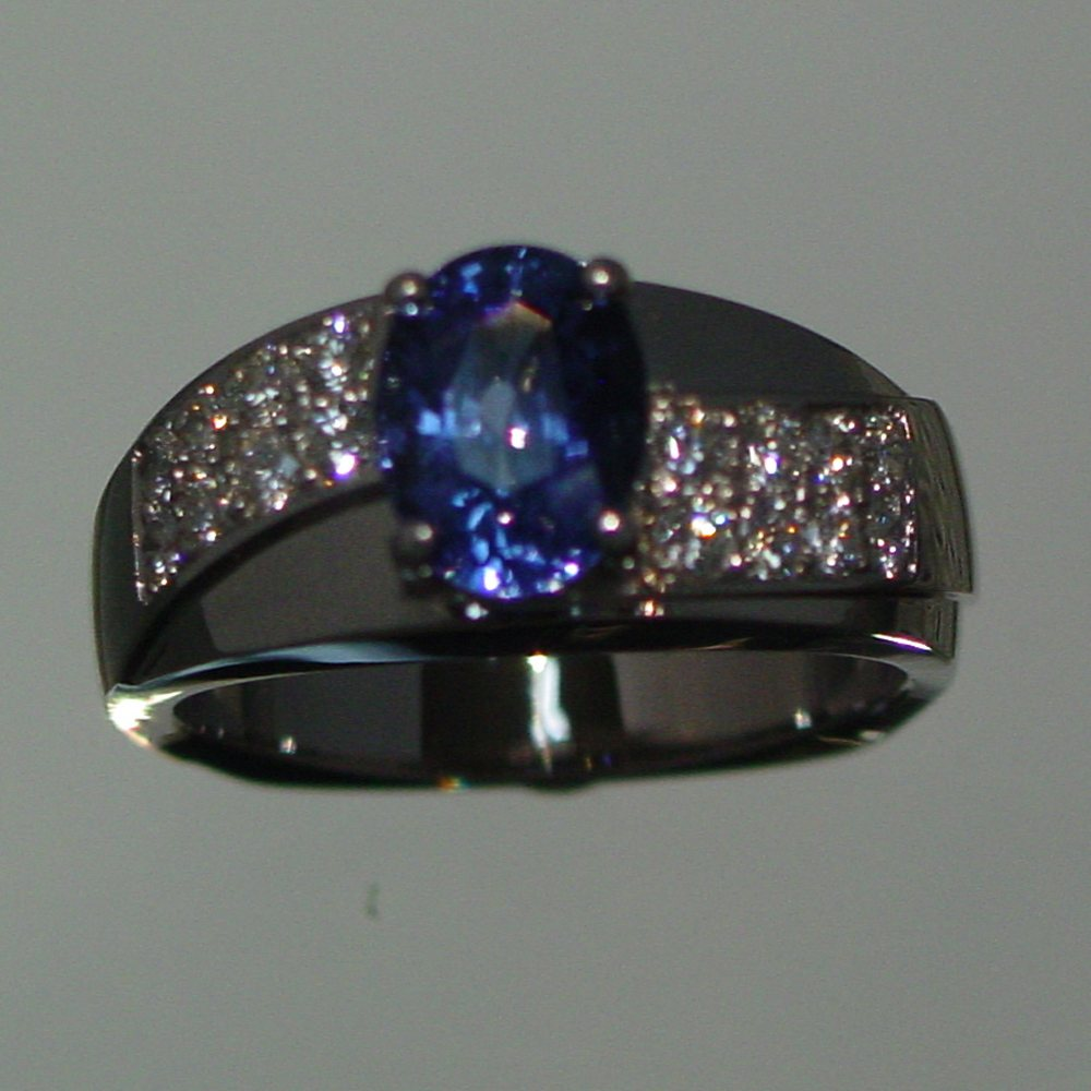 14k White Gold Sapphire and Diamond Pave Ring