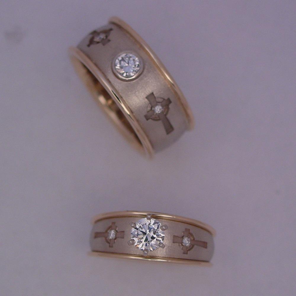 14k White and Yellow Custom Diamond Wedding Set