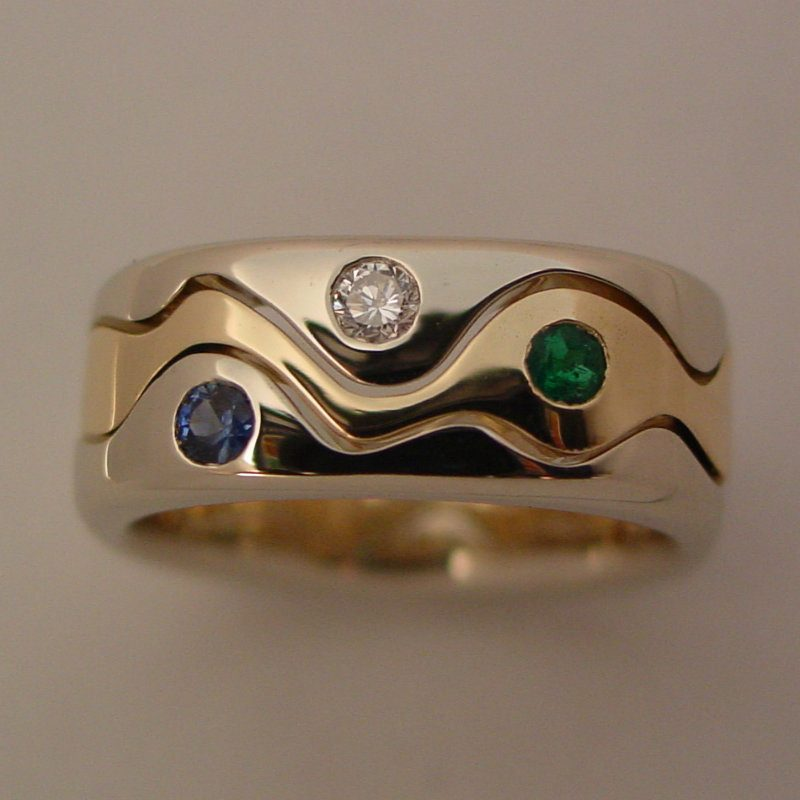 14k White and Yellow Gold Diamond, Sapphire and Emerald Wave Ring