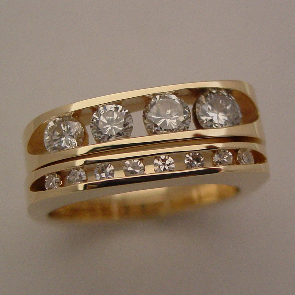 14k Yellow Gold 2 Ring Channel Set Diamond Wedding Set
