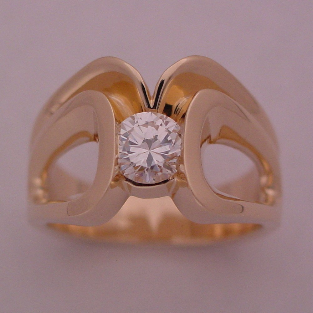 14k Yellow Gold 2 Ring Diamond Wedding Set