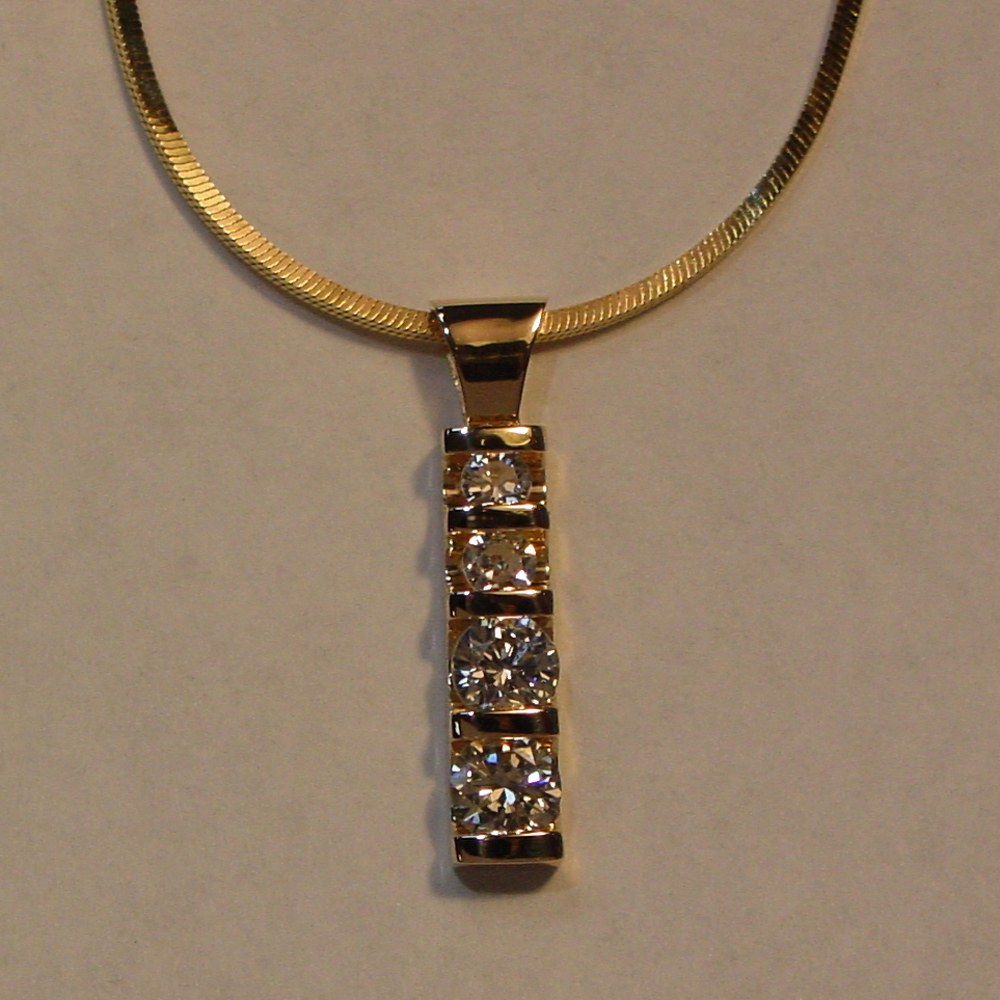 14k Yellow Gold Diamond Bar Drop