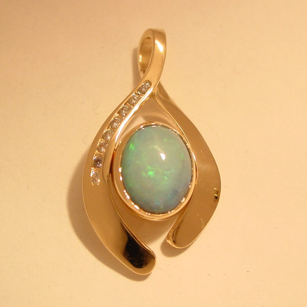 14k Yellow Gold Bezel Set Opal and Diamond Channel Set Pendant