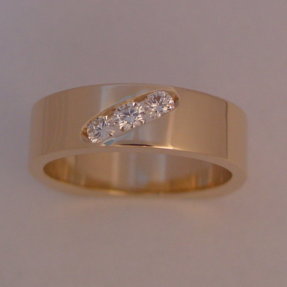 14k Yellow Gold Channel Set 3 Diamond Ring