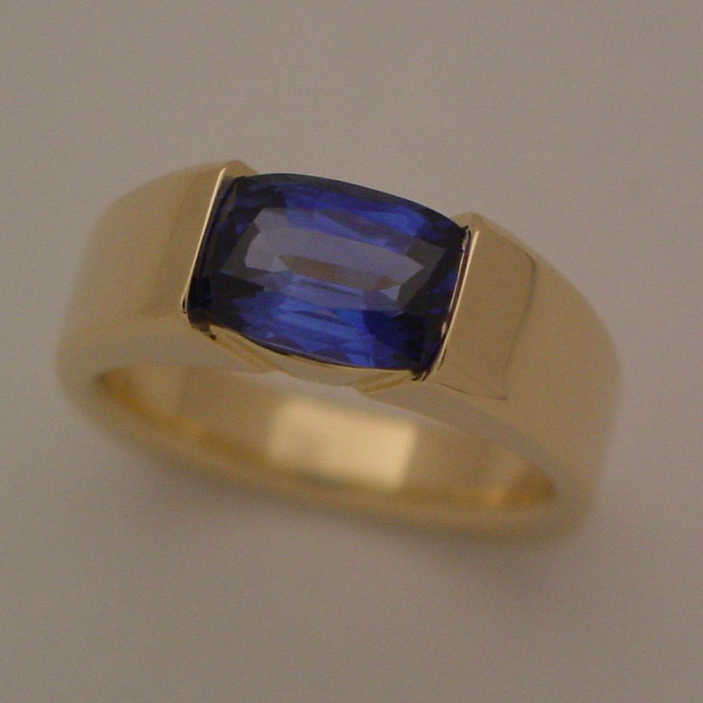 14k Yellow Gold Cushion Cut Sapphire Ring