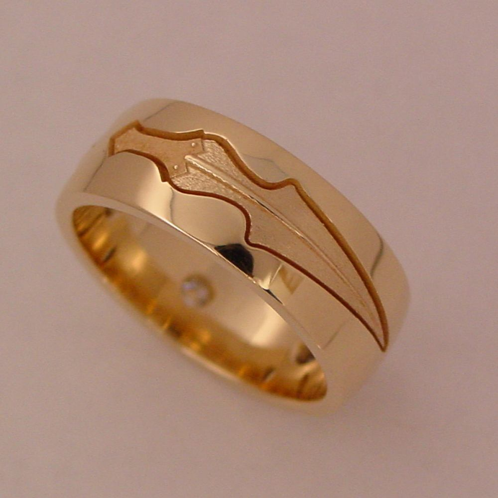 14k Yellow Gold Custom Diamond Band - Bottom