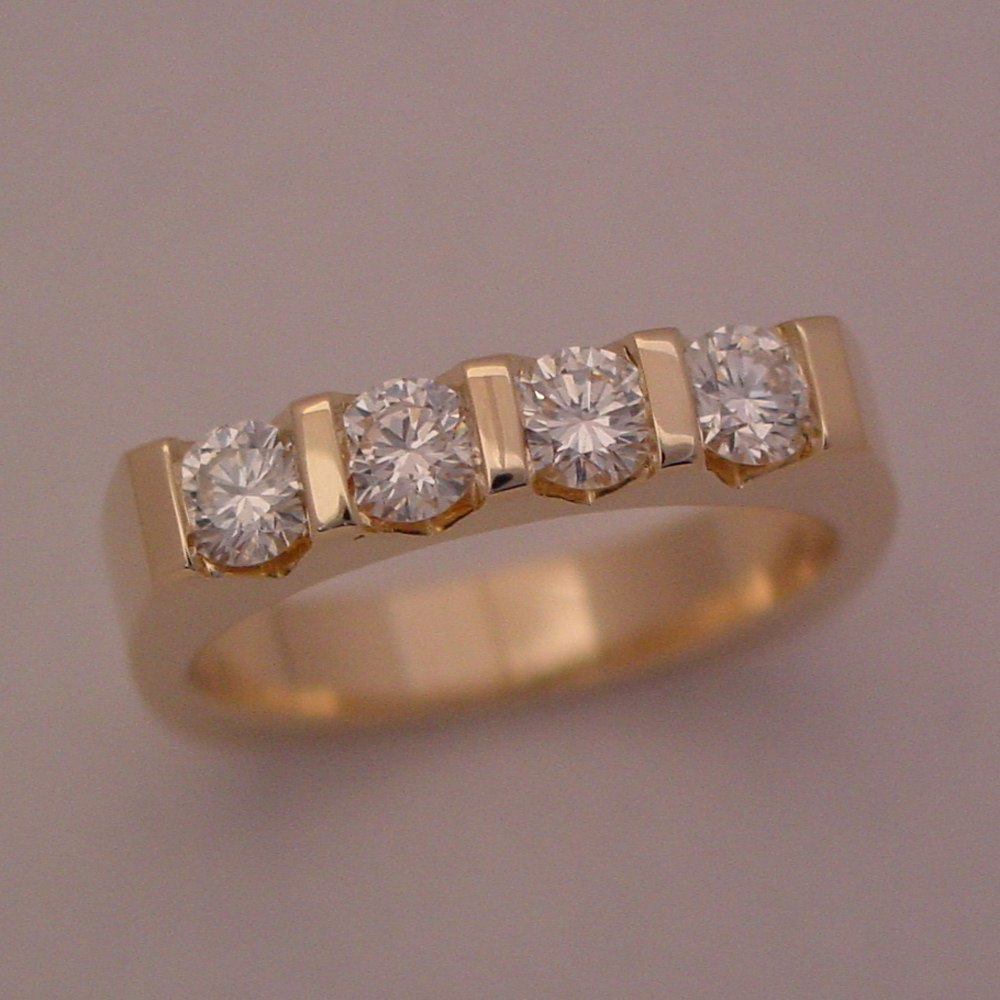 14k Yellow Gold Diamond Bar Set Ring