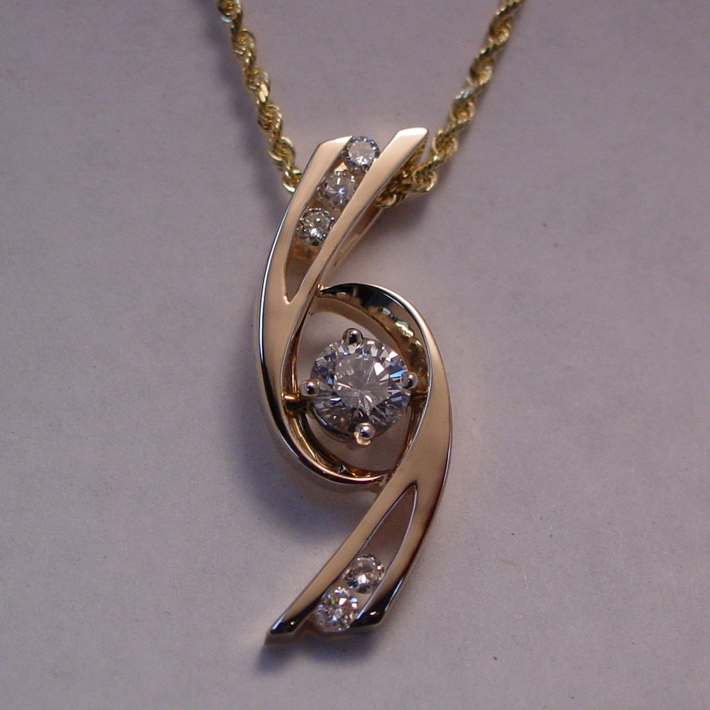 14k White Gold Diamond Tornado Pendant