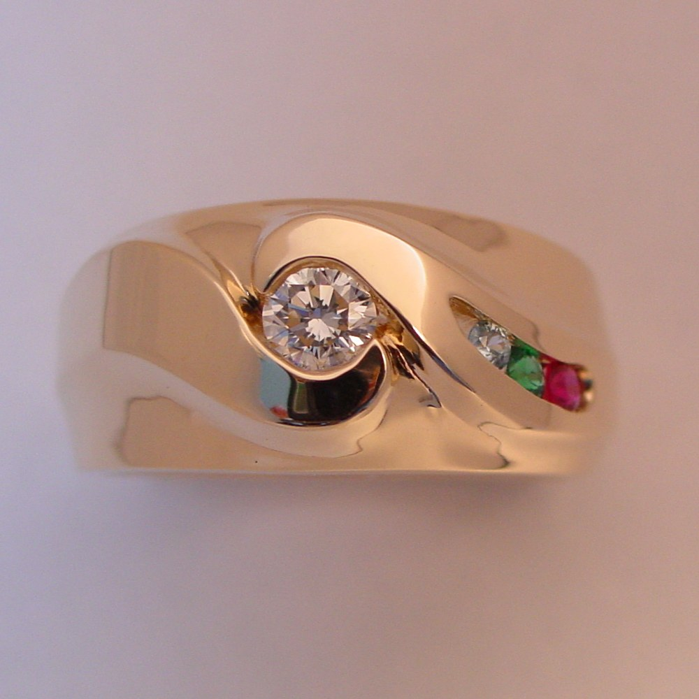 14k Yellow Gold Diamond Sculpure and Birthstone Ring