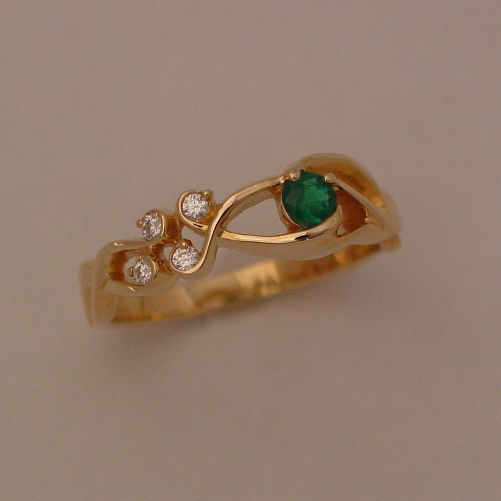 14k Yellow Gold Emerald and Diamond Rapids Ring