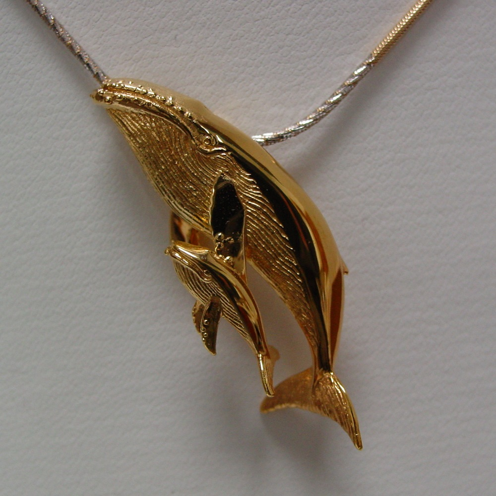 14k Yellow Gold Humpback Whale and Calf
