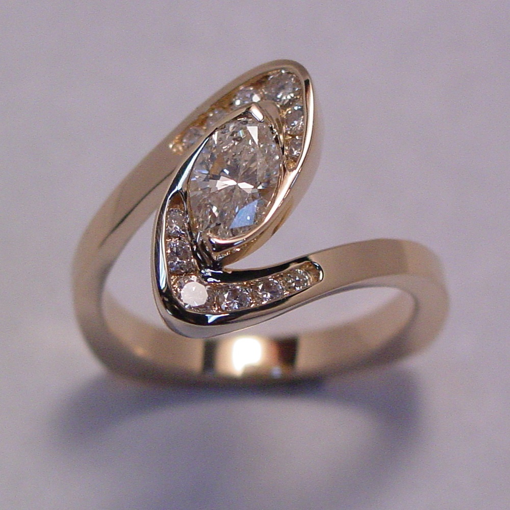 14k Yellow Gold Marquise Diamond Swirl Ring