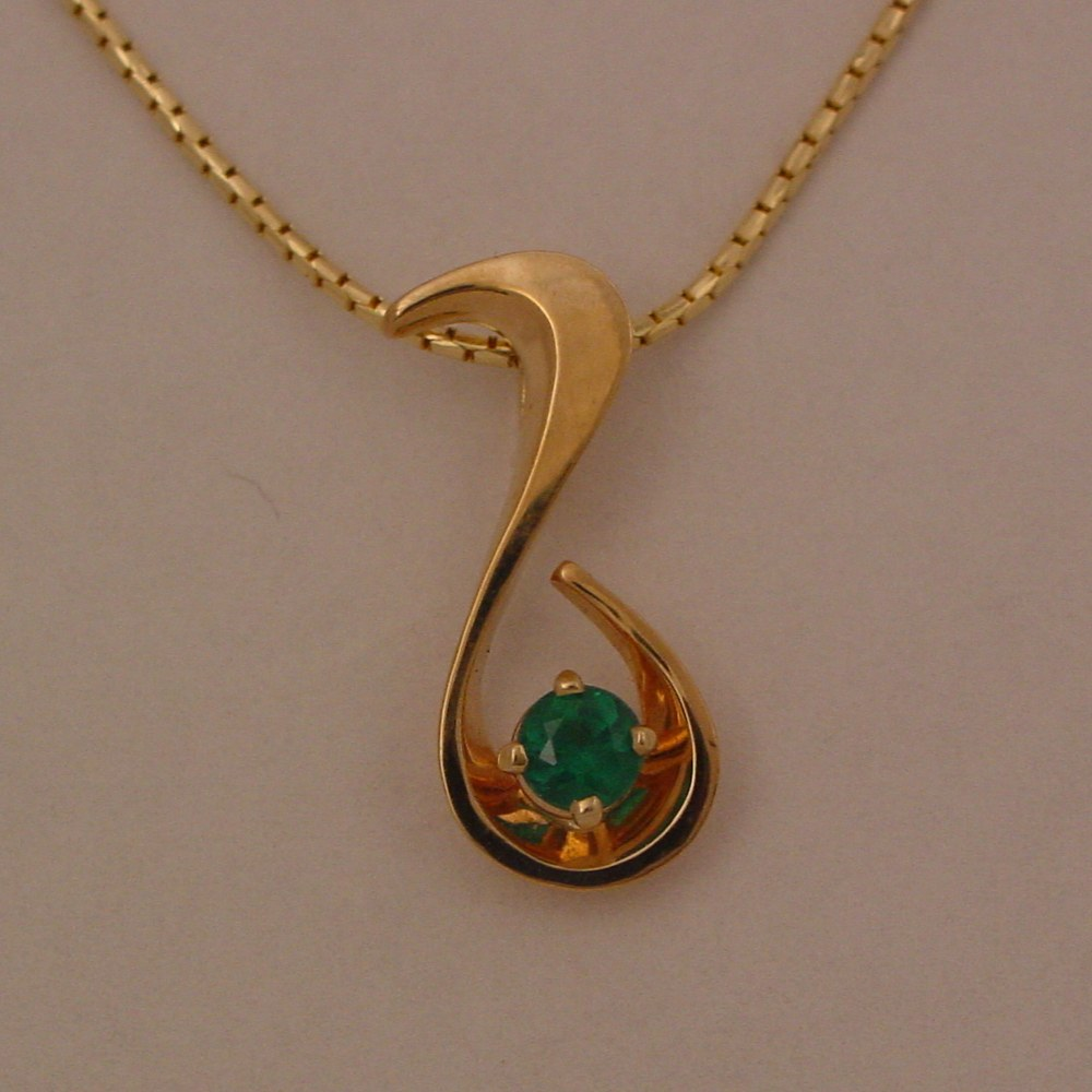 14k Yellow Gold Natural Emerald Pendant