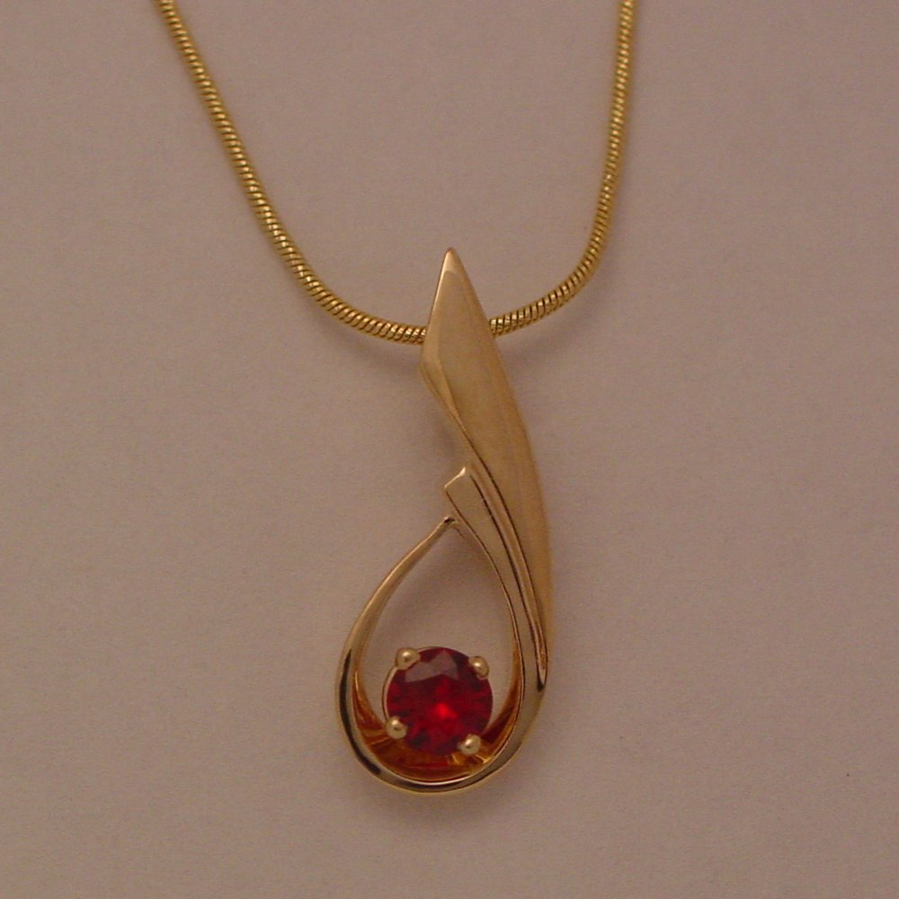 14k Yellow Gold Natural Ruby Pendant