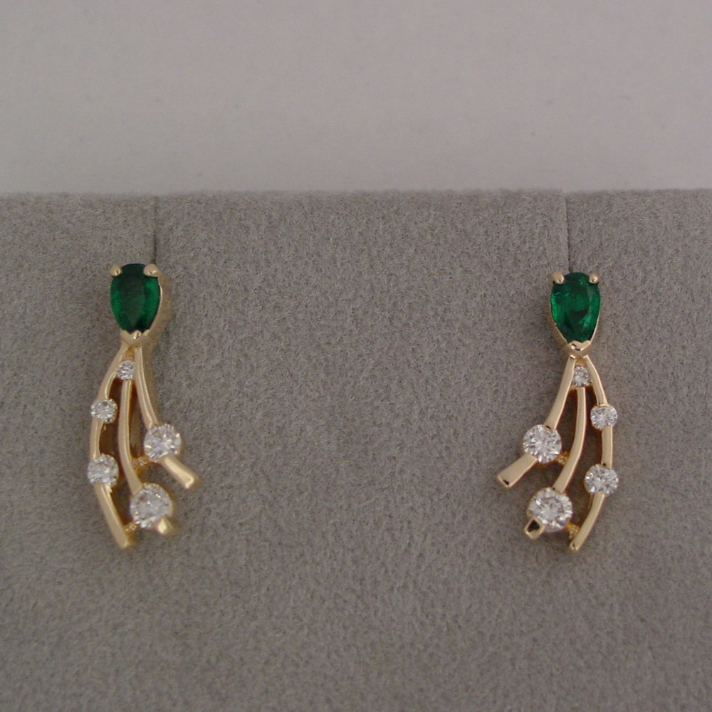 14k Yellow Gold Pear Shaped Emeralds and Diamond Earrings