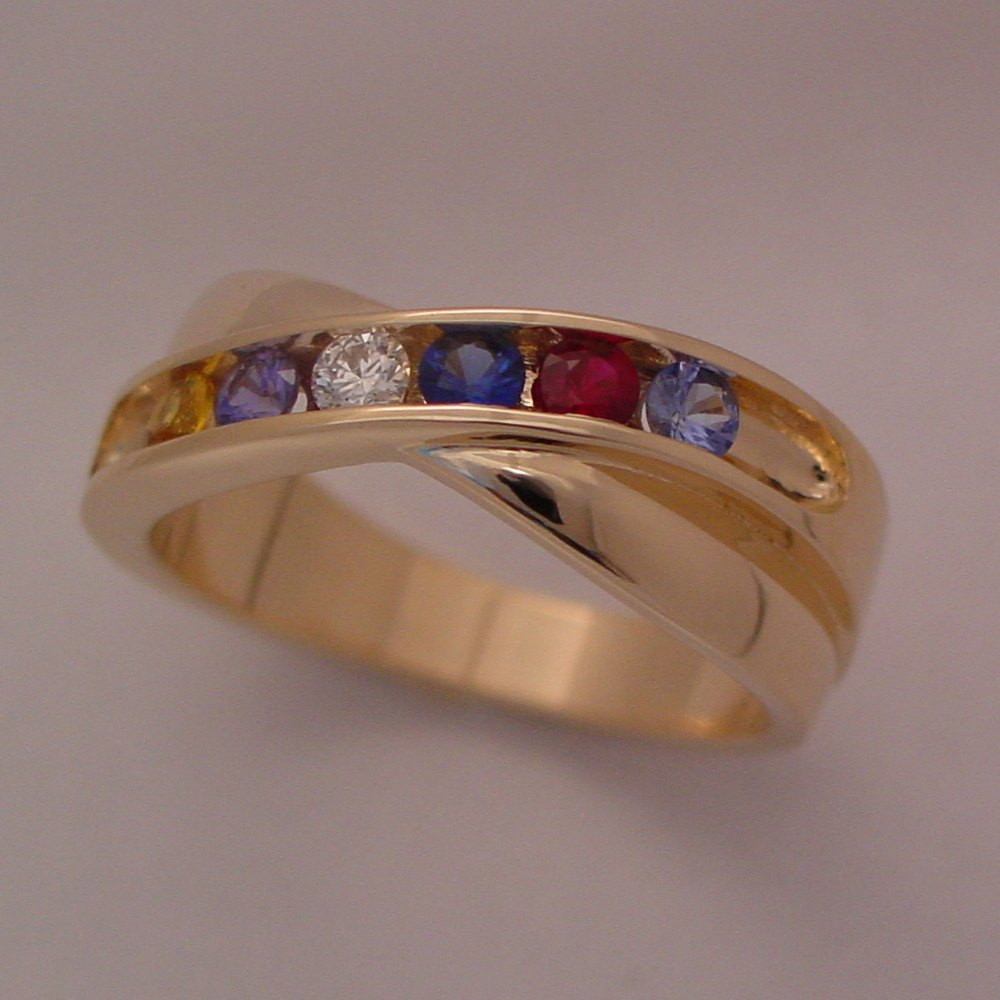 14k Yellow Gold Scuplure Mother's Channel Set Ring
