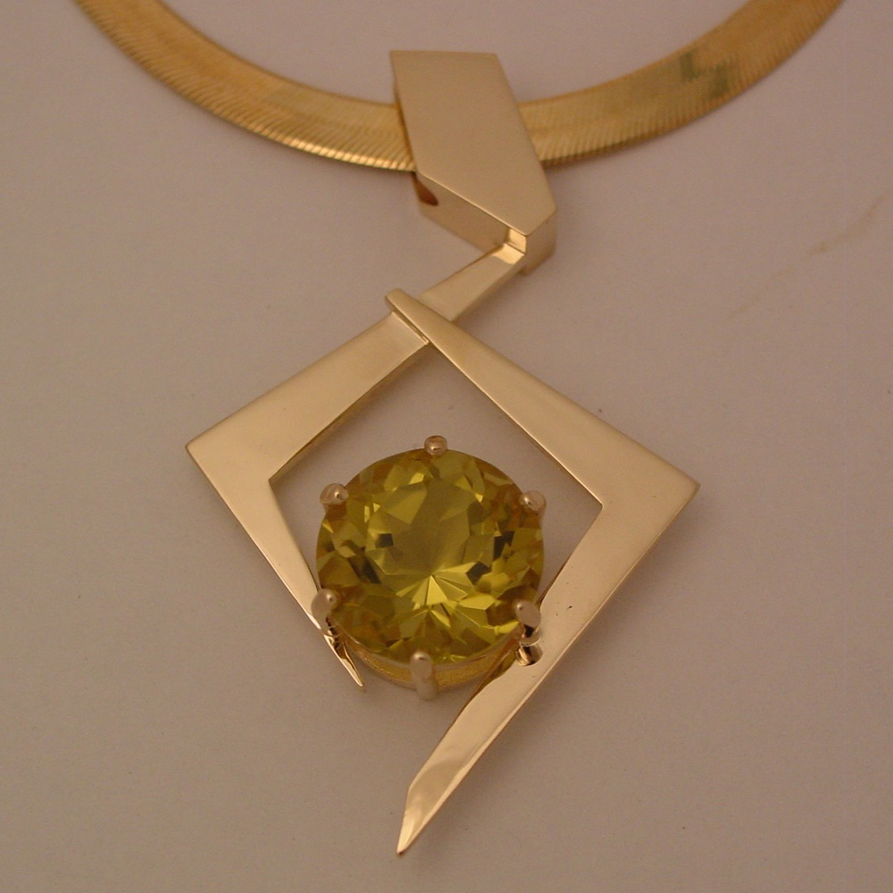 14k Yellow Gold Tourmaline Pendant