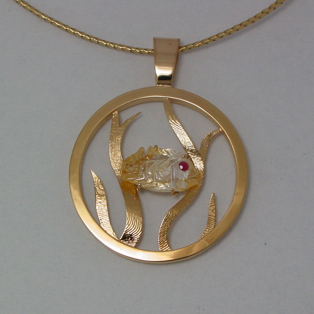 14k Yellow Gold Yellow Sapphire Fish Pendant
