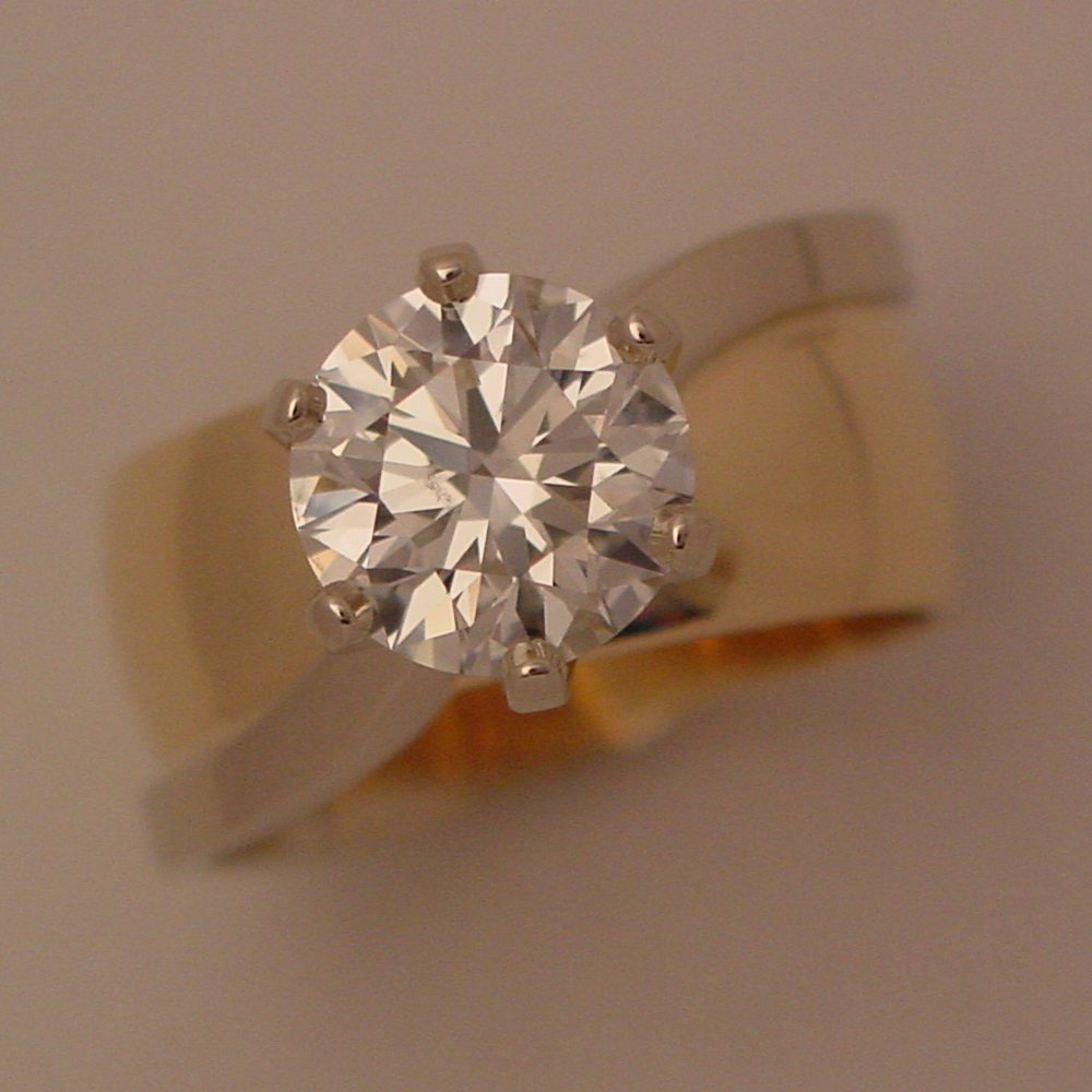 14k Yellow and White Gold 2ct Diamond Ring