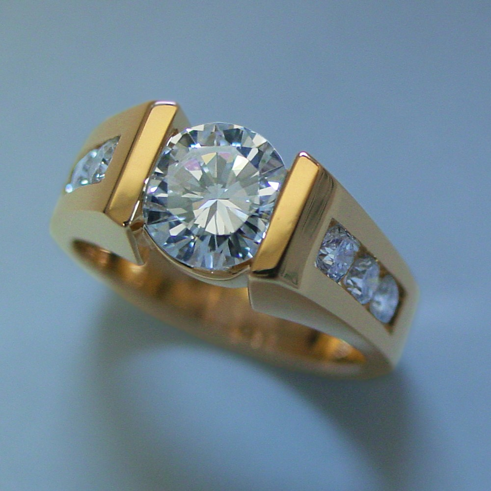 18k Yellow Gold 1ct Diamond Bar Set and Channel Set Diamond Ring