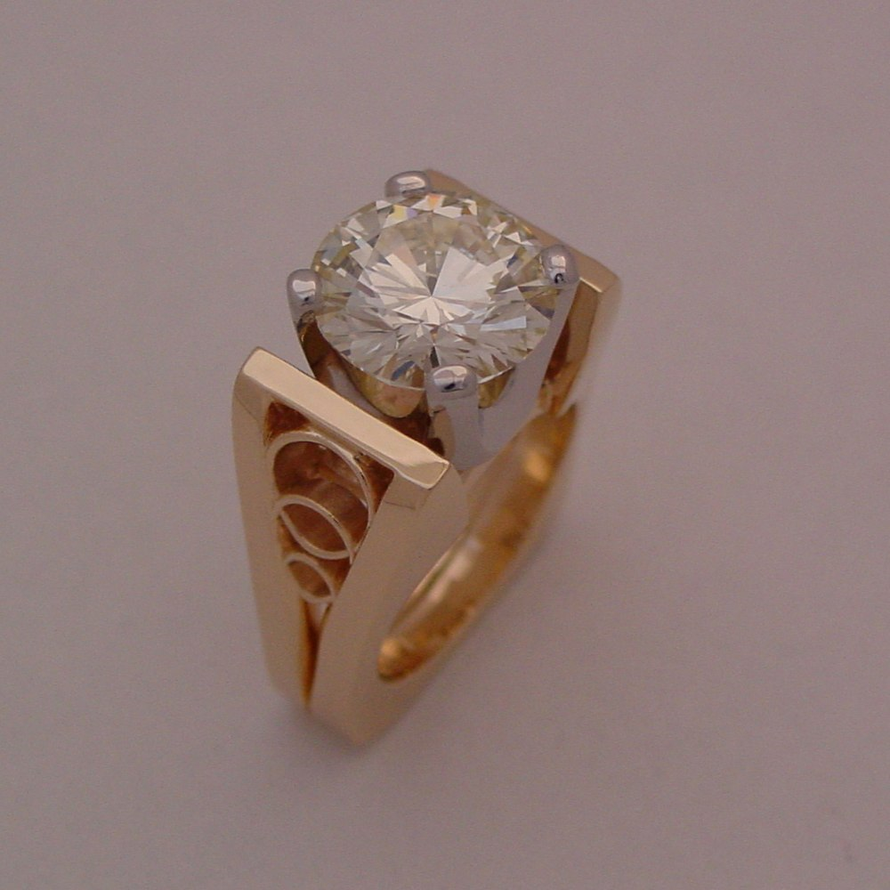 18k Yellow Gold 3ct Diamond Custom Ring