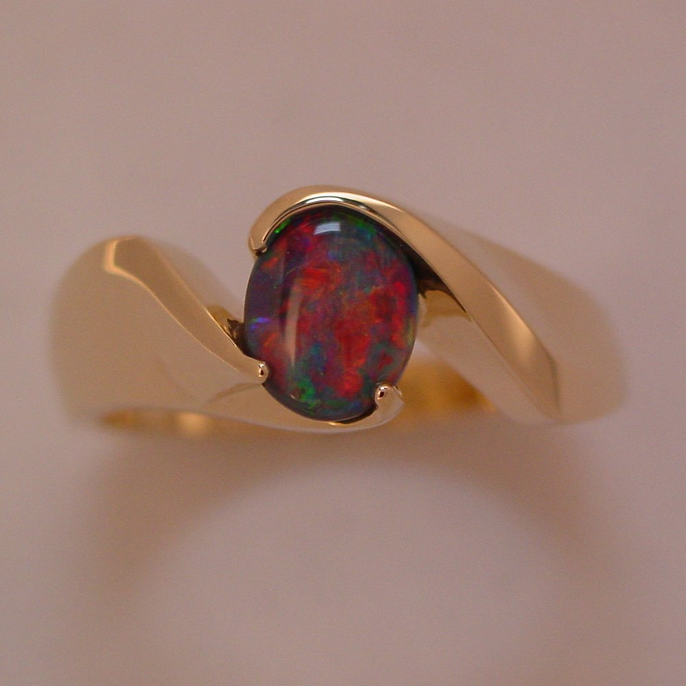 18k Yellow Gold Natural Black Opal Swirl Ring
