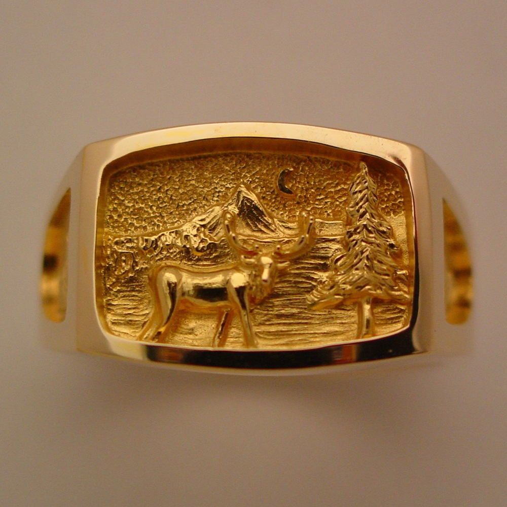 14k Yellow Gold Diamond Elk Ring