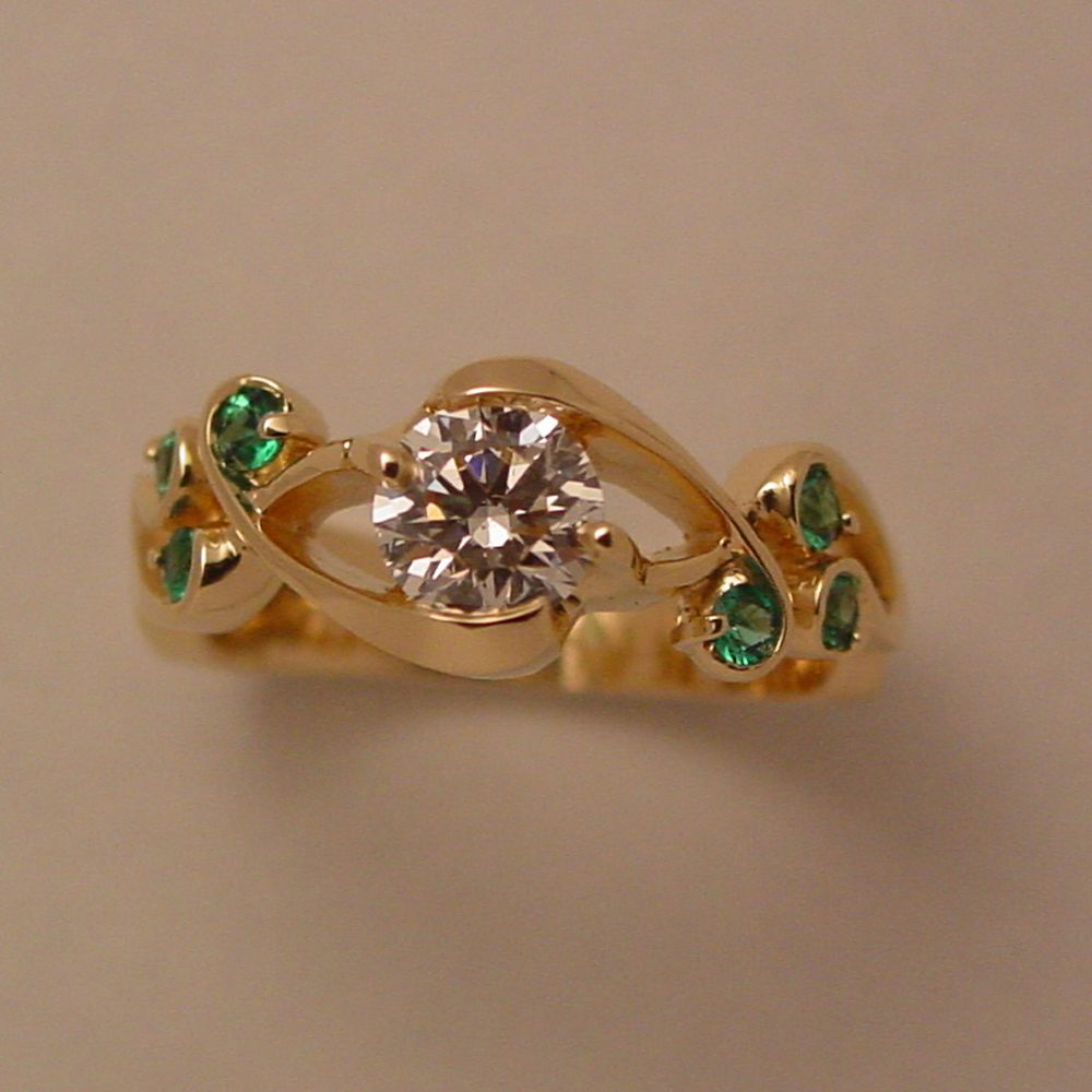 18k Yellow Gold Diamond and Emerald Whitewater Ring
