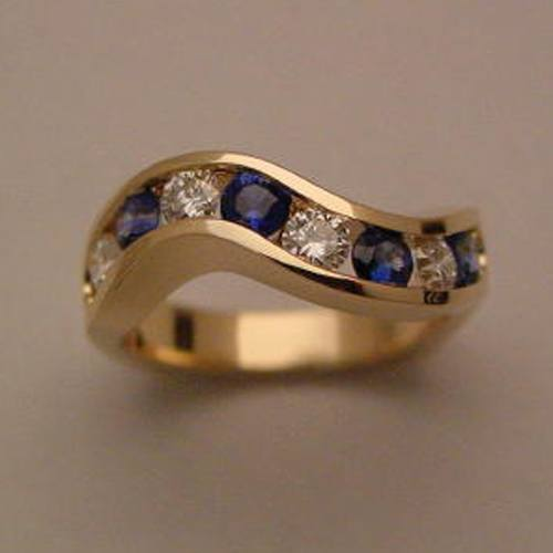 18k Yellow Gold Diamond and Sapphire Channel Ring