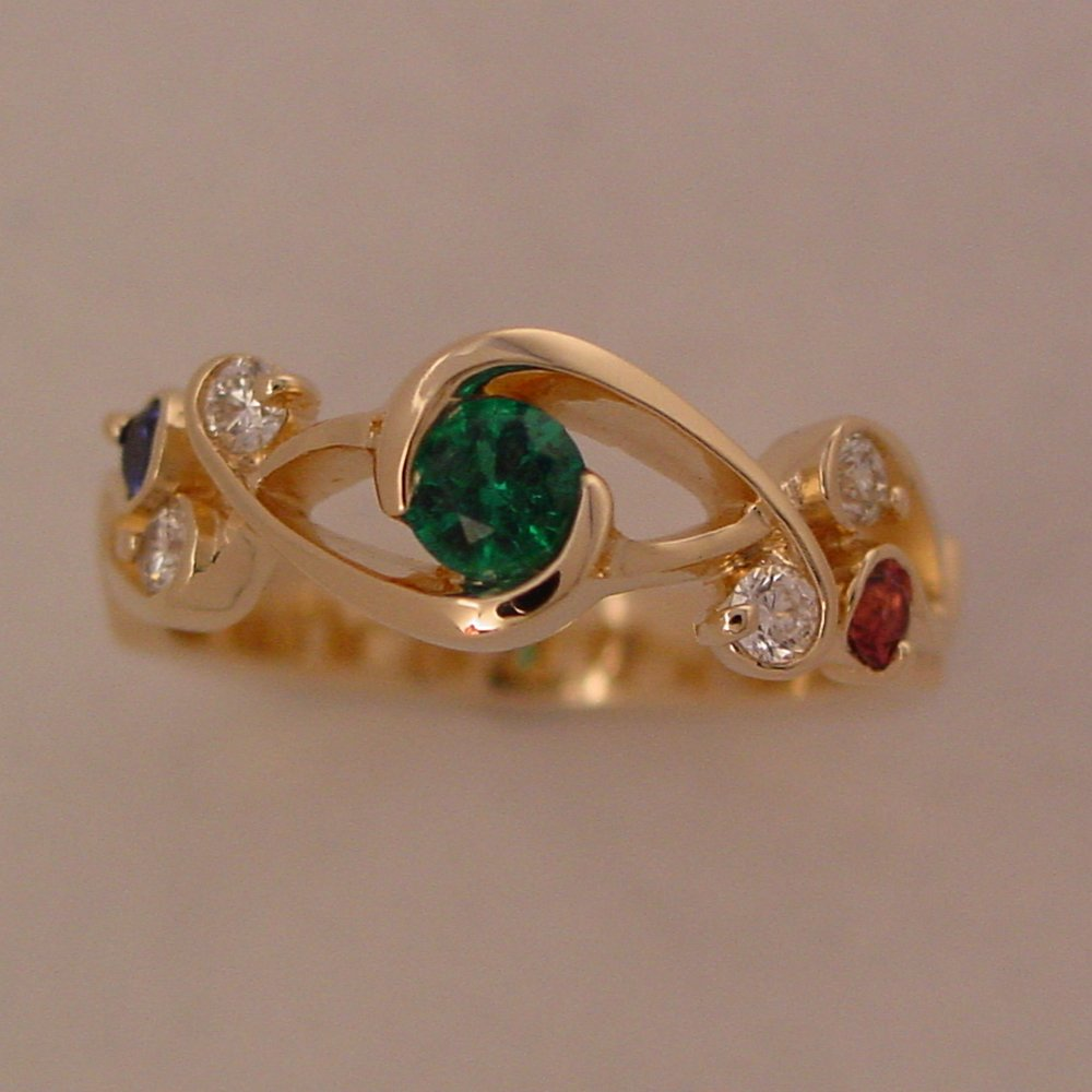 18k Yellow Gold Emerald, Diamond, Ruby and Sapphire Whitewater Ring