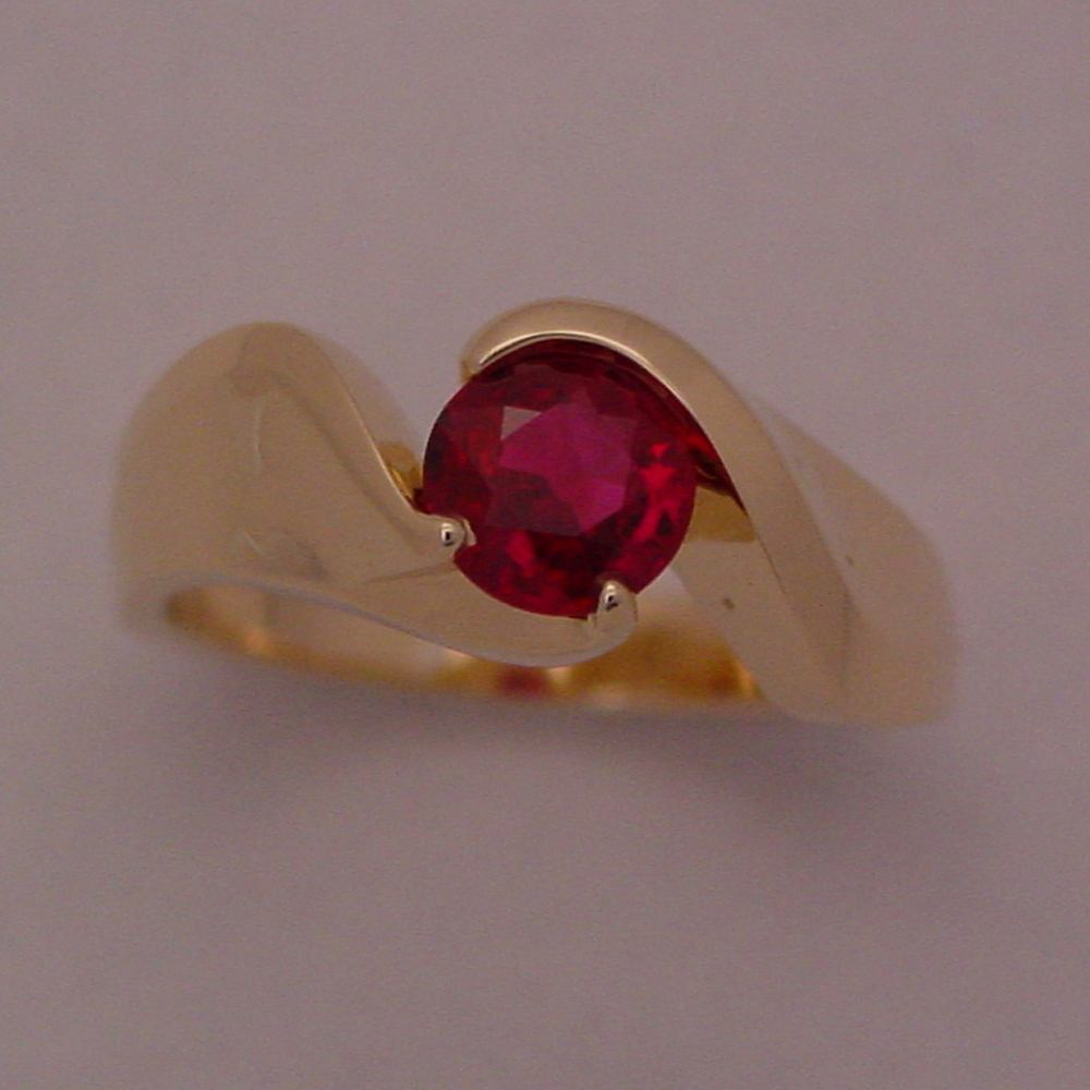 18k Yellow Gold Natural Ruby Ring