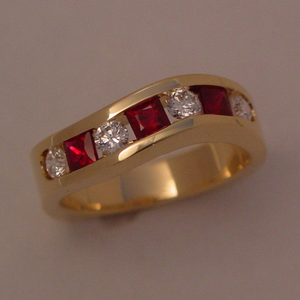 18k Yellow Gold Natural Ruby and Diamond Channel Ring