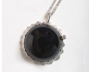 14k White Gold Total Eclipse Pendant